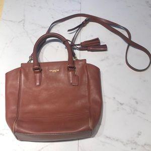 COACH cognac leather crossbody purse